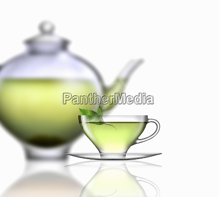 myntete glas teacup underkop og tepotte