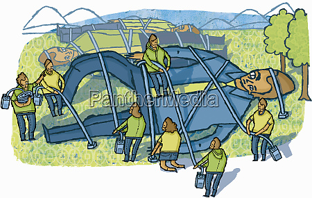 people untying large businessmen tied up