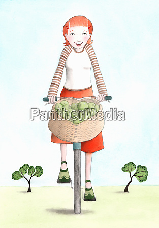 woman riding bicycle with basket full