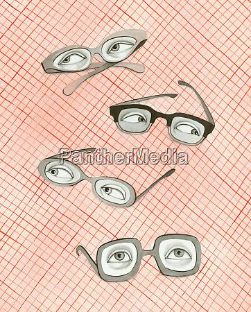 curious eyes in eyeglasses