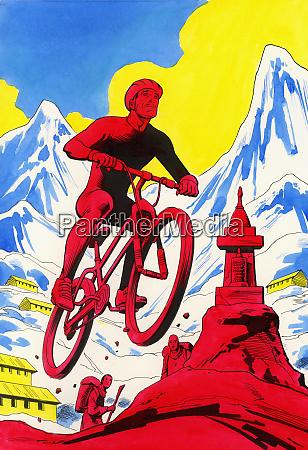 man riding mountain bike near mountains