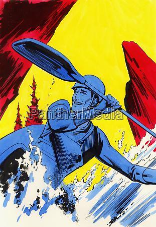 man paddling kayak down river
