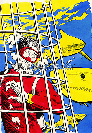 scuba diver in cage surrounded by