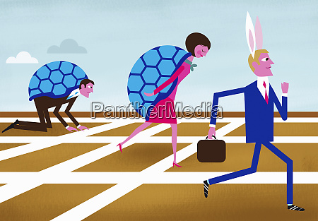 businessman wearing hare ears winning race