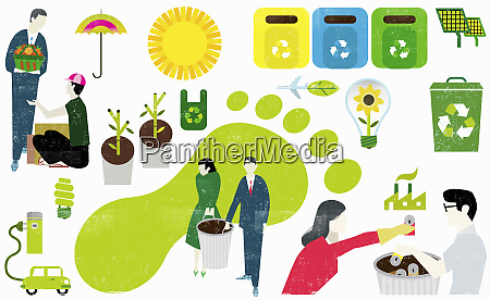 montage of eco friendly symbols and