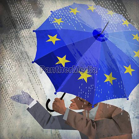 businessman checking rain from under european