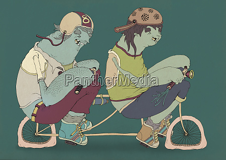 teenagers riding tandem bicycle
