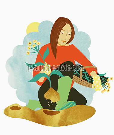 woman harvesting plants with pound symbol