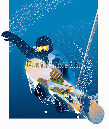 man in mid air on snowboard