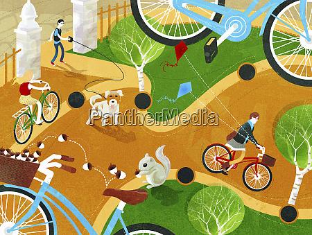man walking dog and people riding