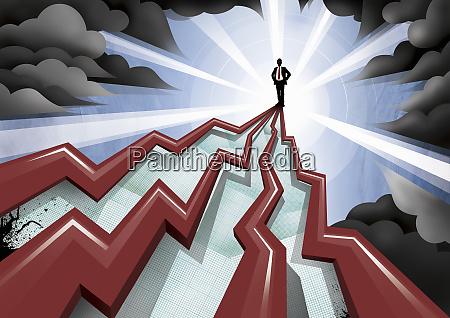 businessman standing on top of pinnacle