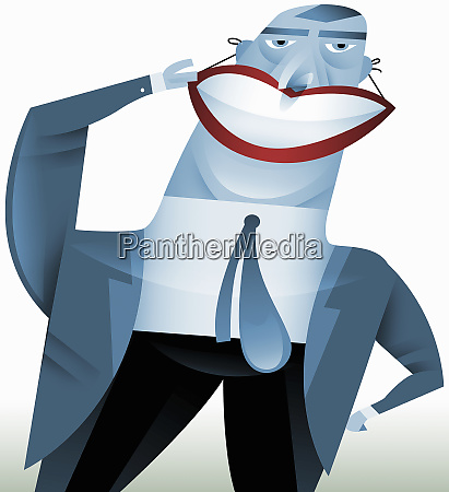 businessman wearing false smile