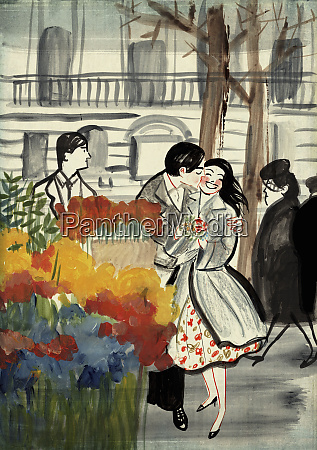 young man kissing girlfriend with bunch