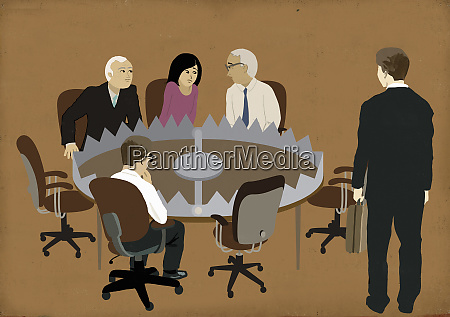 business people sitting in meeting around