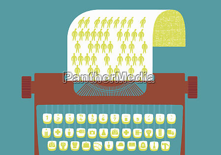 skrivemaskine med grafik tasterder repraesenterer erhverv