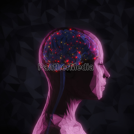 bright lights inside of womans head
