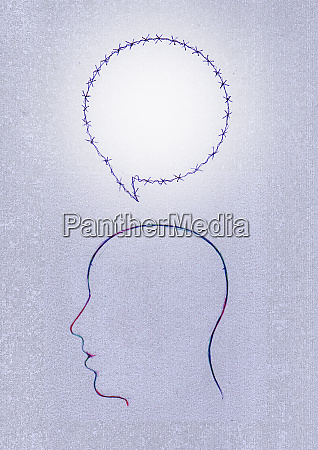 barbed wire speech bubble above silhouette