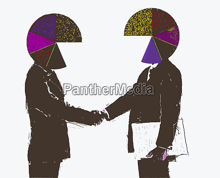 businessmen with pie chart heads shaking