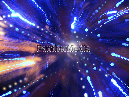 abstract pattern of blue light trails