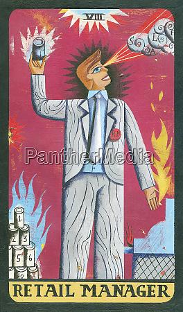 tarot card depicting businessman with cash