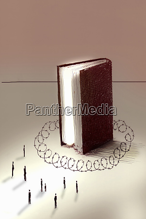 people excluded from large book surrounded