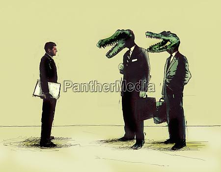 forretningsmand, møde, forretningsmænd, med, krokodille, hoveder - 26007811