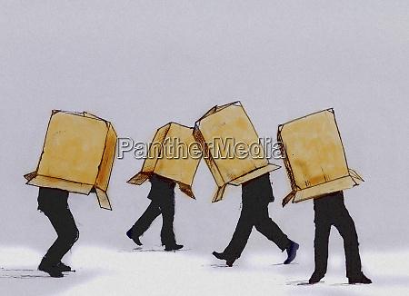 forretningsmaend walking karton kasse daekker hovedet