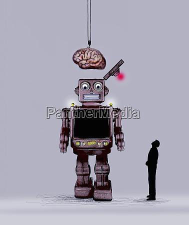 man watching human brain being lowered