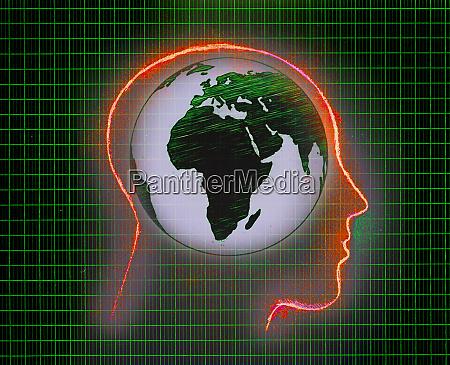green globe inside of mans glowing
