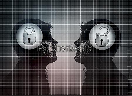 contrast between man with closed padlock