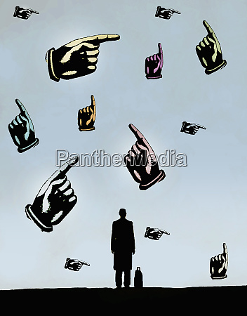 businessman looking at lots of hands