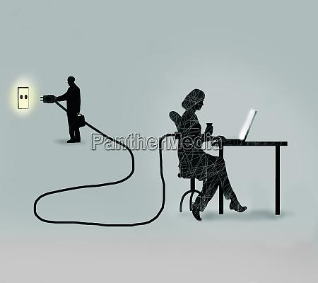 forretningsmand tilkoble kvindelige kontor arbejder
