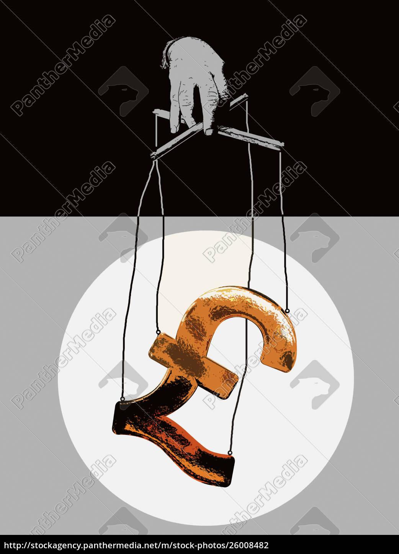 hånd, manipulere, pund, symbol, marionet, på - 26008482