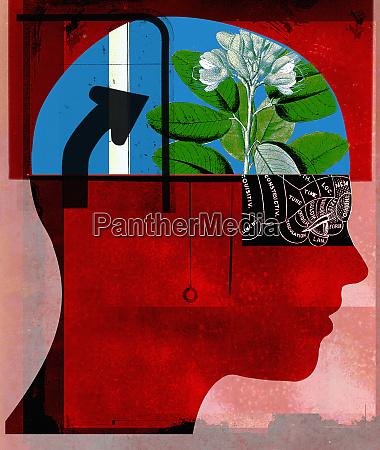 flower growing inside of human head