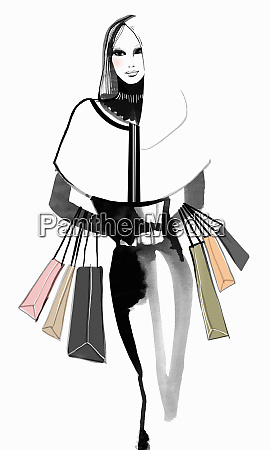 portrait of elegant woman carrying shopping