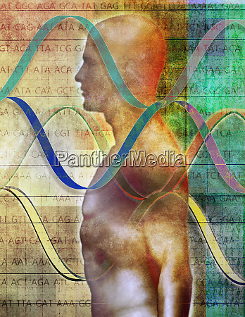 human body with helix pattern and