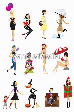 twelve poses of young woman each