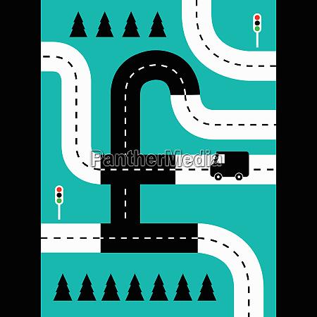 roads forming british pound symbol
