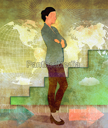 businesswoman standing with arms crossed in