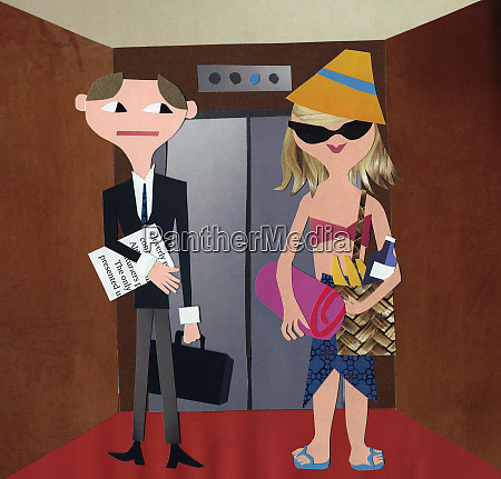 businessman in elevator contrasting with woman