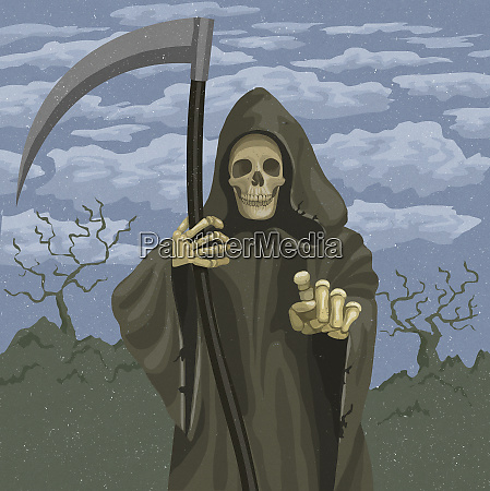 grim reaper holding scythe and pointing