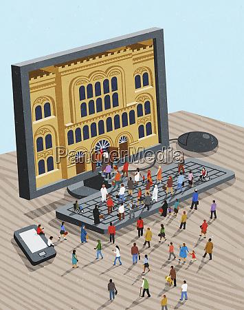 community accessing public building through computer
