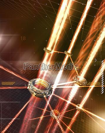 light beams connecting circular mechanisms and