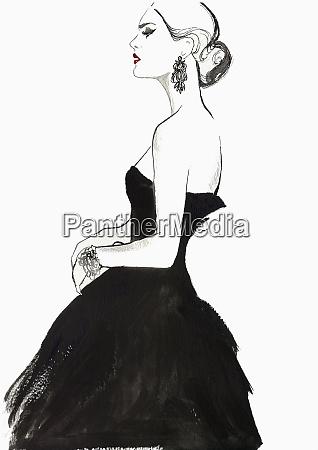 elegant haughty woman wearing strapless black