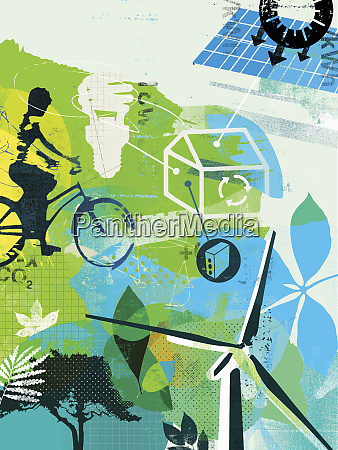 collage of alternative energy and environmentally