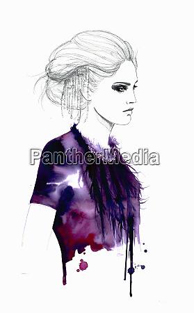 fashion illustration of stylish woman wearing