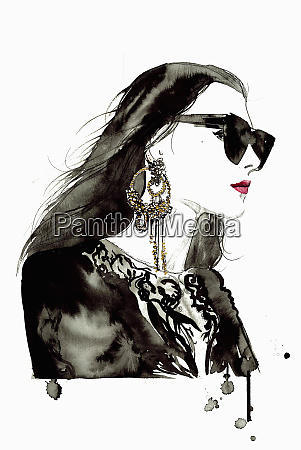 watercolor illustration of fashion model wearing