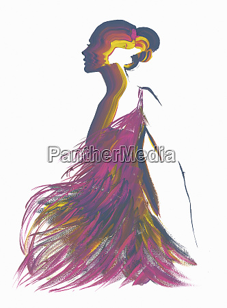 silhuet af kvinde ifort lilla fjer