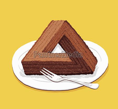 optical, illusion, triangular, chocolate, cake - 26013008