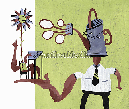 businessman with watering can head assisting